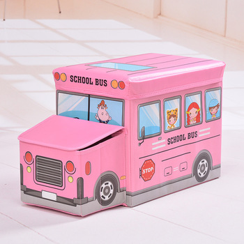Cartoon Car shaped Storage Stool Children Clothes Toy Boxes  1
