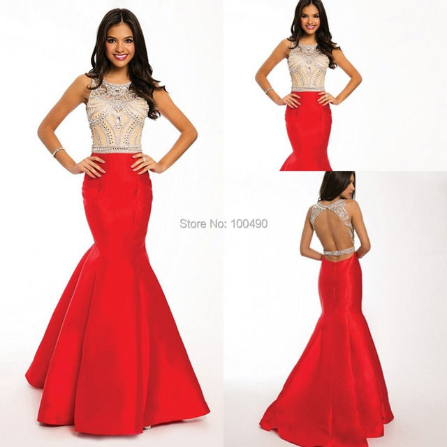 Red two piece prom dress long