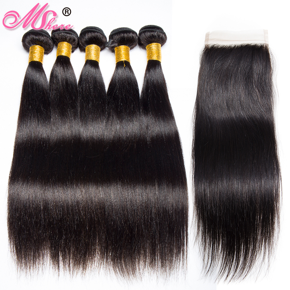 Lace Closure with Bundles Brazilian Straight Hair Bundles With Closure 100 Human Hair Non Remy Hair