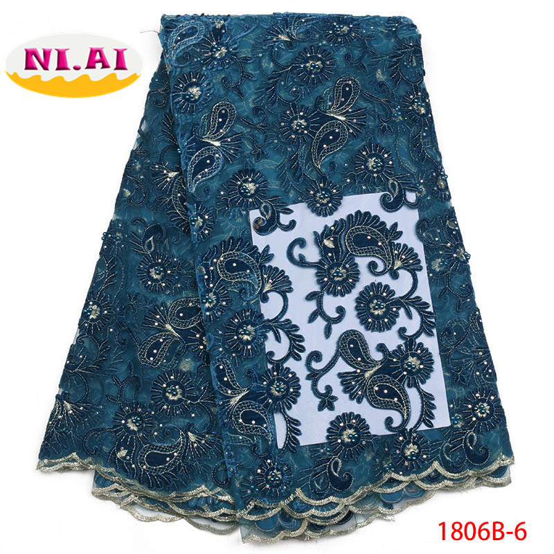 Nigerian Lace Fabric 2018 High Quality Lace Blue African Tulle Lace Fabric Mint Green Fabric Lace
