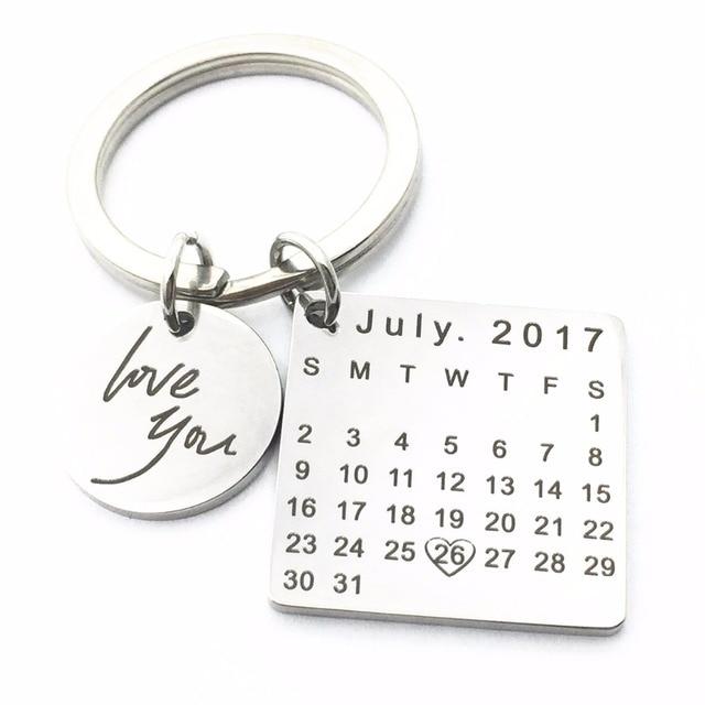 MYLONGINGCHARM Customize Birthday Calendar KeyChains Specialized Valentine's Day