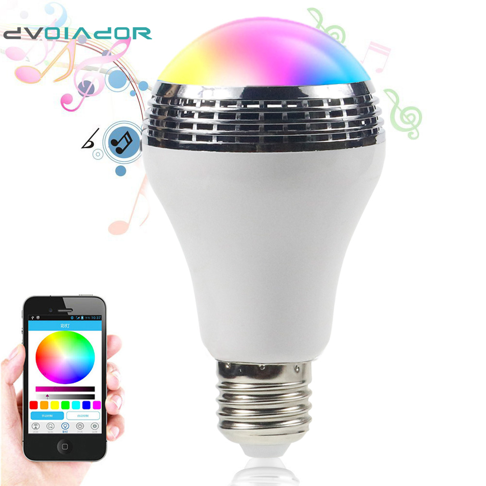DVOLADOR Intelligent AC90V-240V 10W Audio Speakers Lamp Dimmable Speaker E27 LED RGB Light Music Bulb color via WiFi App Control 2017 hot bluetooth multi function audio intelligent family host background music system lcd screen touch light dimmer 2 speakers