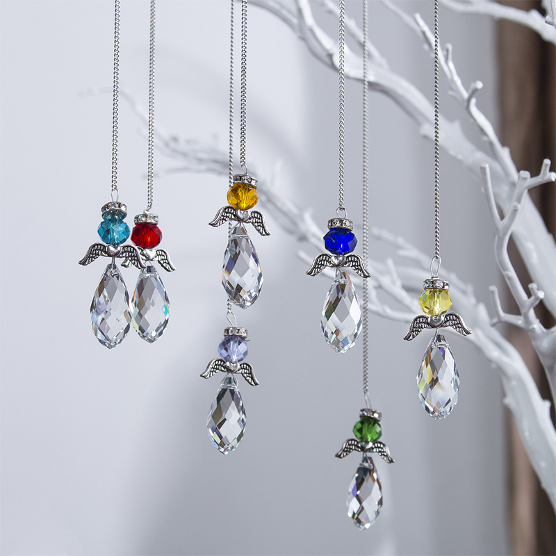 H&D Set Of 7,Hanging Crystal Guardian Angel Stained Glass Suncatcher Rainbow Maker Window Curtains Ornament Xmas Gift Home Decor