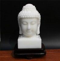 $2800 хорошее белый нефрит статуя Будды # домашние Семейные эффективные защиты # полноценно jade Буддизм Будды statue 30CM большой