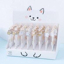 24 pcs/lot 0.5mm Shiba mignon animaux Gel stylo stylo encre cadeau promotionnel papeterie fournitures scolaires et de bureau
