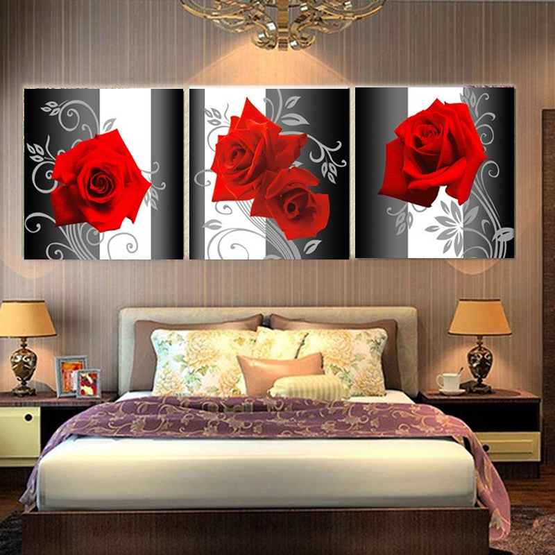 3 Piece Canvs Wall Paintings for Living Room Home Decor Wall Pictures Red Rose Wall Art Canvas Painting for Bedrooms HY20 ...