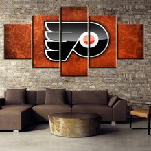 Painting Canvas Wall Art Picture Home Decoration Living Room 5 Piece HD Print Ice Hockey Sport Poster(Framed)