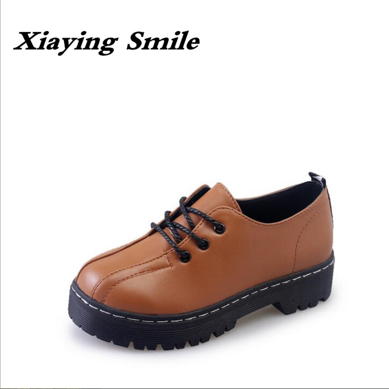Xiaying Smile 2017 latest Spring Autumn Woman British Style Women Shoes Casual Pantshoes Platform Lace Shoes Pumps Size 35-39 xiaying smile woman pumps shoes women spring autumn wedges heels british style classics round toe lace up thick sole women shoes