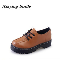 Xiaying Smile 2017 Latest Spring Autumn Woman British Style Women Shoes Casual Pantshoes Platform Lace Shoes