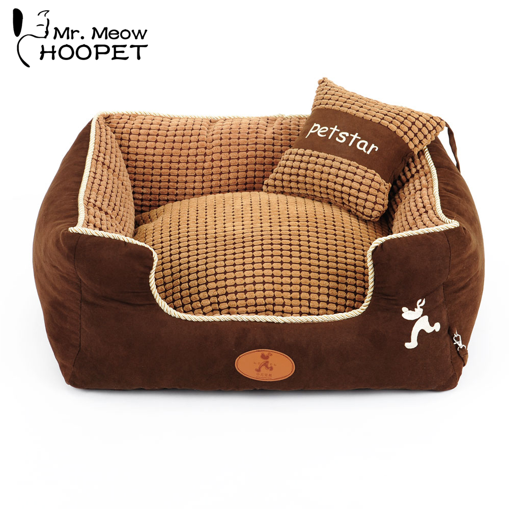 Hoopet Square Puppy Dog Bed Warming Dog House Soft Fabric Sofa Winter Spring Home for Dog