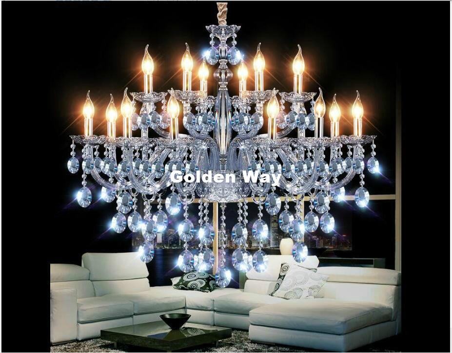 Modern Art Deco Chandelier Sky Blue Color Hanging Lamp Living Room Candle Lamps Luxury Crystal Chandelier E14 AC 100% Guaranteed