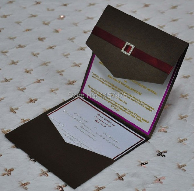 hi5010 customized pocket fold invitation cards with ribbon and