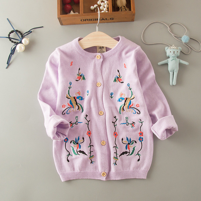 b8ec3f61f6c0 Everweekend Girls Flower Embroidered Knitted Cardigan Jackets ...