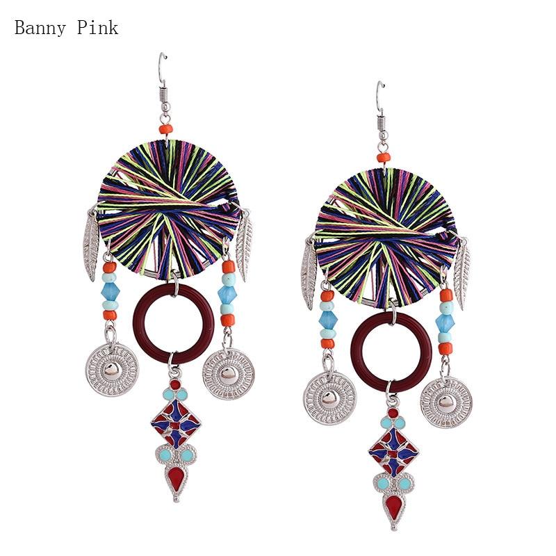 Ethnic Handmade Weaved Pendant Drop Earrings For Women Vintage Tassel Statement Dangle Earring Fashion Jewelry Pendientes Bijoux