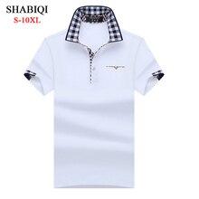 SHABIQI Классическая брендовая мужская рубашка, Мужская рубашка поло, мужская рубашка поло с коротким рукавом, Повседневная рубашка поло размера плюс 6XL 7XL 8XL 9XL 10XL