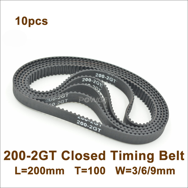 POWGE 200 GT2 Timing Belt Width=3/6/9mm Length=200mmTeeth=100 2GT Closed-Loop Synchronous Belt 200-GT2 For 3D Printer 200-2GT