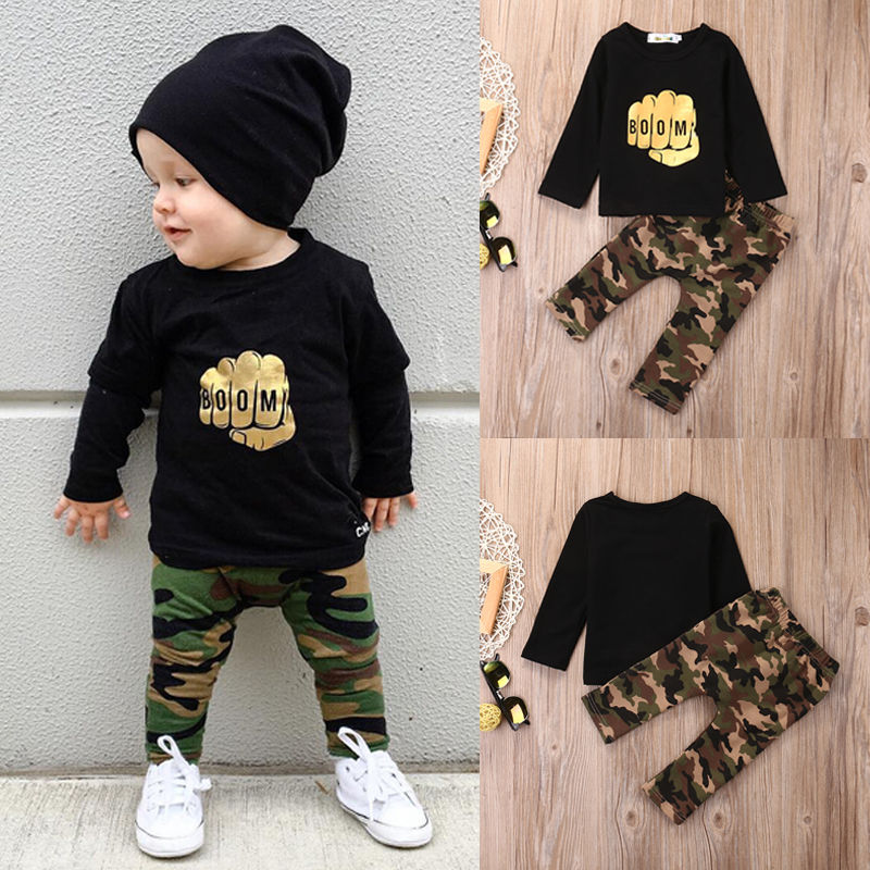 Camouflage Newborn Baby Boy Toddler Clothes Set T Shirt Tops Long Sleeve Pants Cotton Outfits Set Clothing baby fox print clothes set newborn baby boy girl long sleeve t shirt tops pants 2017 new hot fall bebes outfit kids clothing set