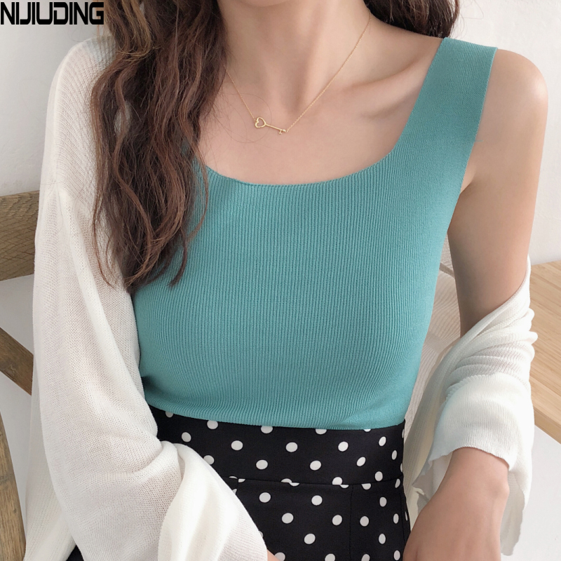 NIJIUDING Women Fashion Slim Camisole Summer Knitting   Tank     Tops   Female Bodycon Sleeveless camisole With Shinning Rayon Knitted