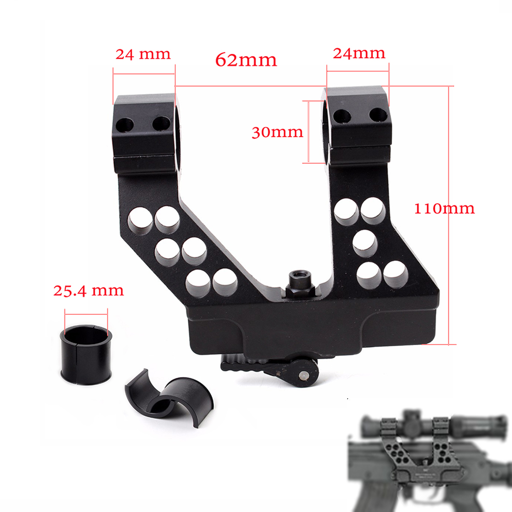 Hunting Quick Detach AK Side Rail Scope Mount with Integral 1 Inch 25mm/30mm Ring For AK47 BlackHunting Quick Detach AK Side Rail Scope Mount with Integral 1 Inch 25mm/30mm Ring For AK47 Black