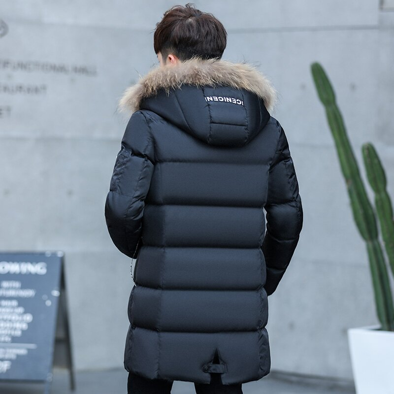 YWSRLM Large Fur Collar Winter Men Parka 2017 New Winter Men Jacket Coat Long Slim Thickening Warm Parkas Male Outerwear Black