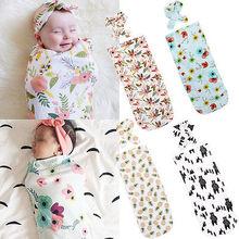 2 шт./компл. для новорожденных, Модное детское Пеленальное Одеяло, Детские спальные мешки, муслиновая Пеленка, повязка на голову, Прямая поставка