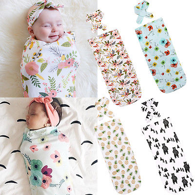 2Pcs/Set Newborn Fashion Baby Swaddle Blanket Baby Sleeping Bags Muslin Wrap Headband Dropshipping