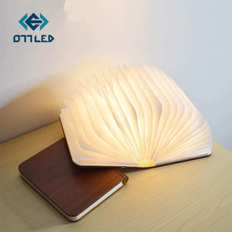 Big Size Creative Wood Foldable Pages Led Book Shape Colorful Night Light USB Rechargeable Reading Desk Lamp for Home Decor Gift creative heart lock led night lights accompanying usb rechargeable reading lamp valentine day lovers romantic gift novelty light