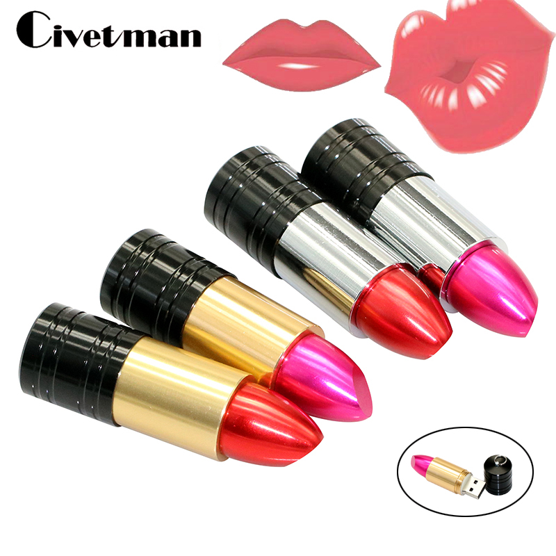 Pen Drive Beautiful Lipstick Red/Rose Pink USB Flash Drive 64GB 32GB 16GB 8GB Metal Lipstick USB 2.0 Flash Memory Stick Pendrive каталог pink lipstick