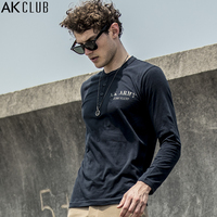 AK CLUB Brand Men T Shirt Long Sleeve Henry Collar Tee Vintage Military Style Bootcamp Printing