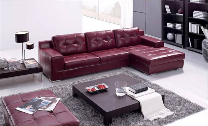 Free Shipping European Modern Sofa, Made With Top Grain Leather L Shaped  Corner Sectional Sofa Set With Ottoman, Leather Lounge