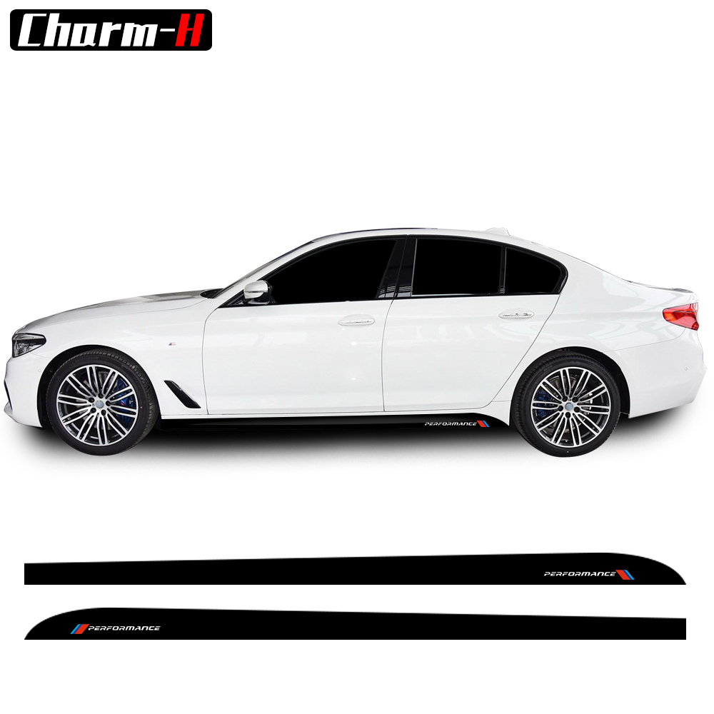 2Pieces M Performance 5D Carbon Fibre Side Skirt Sill Racing Stripe Decal Sticker for BMW G30 5 Series 2017-Present Accessories