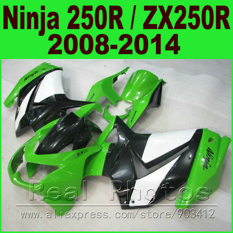Fit Ninja 250R Fairing kit 2008 2009 2010 - 2014 white green Kawasaki ZX 250 EX250 body kits 08 09 10 11 12 13 14 fairings set moto motorcycle fairing kit for kawasaki ninja zx10r zx 10r 2008 2009 2010 08 09 10 abs plastic fairings fairing kit white black