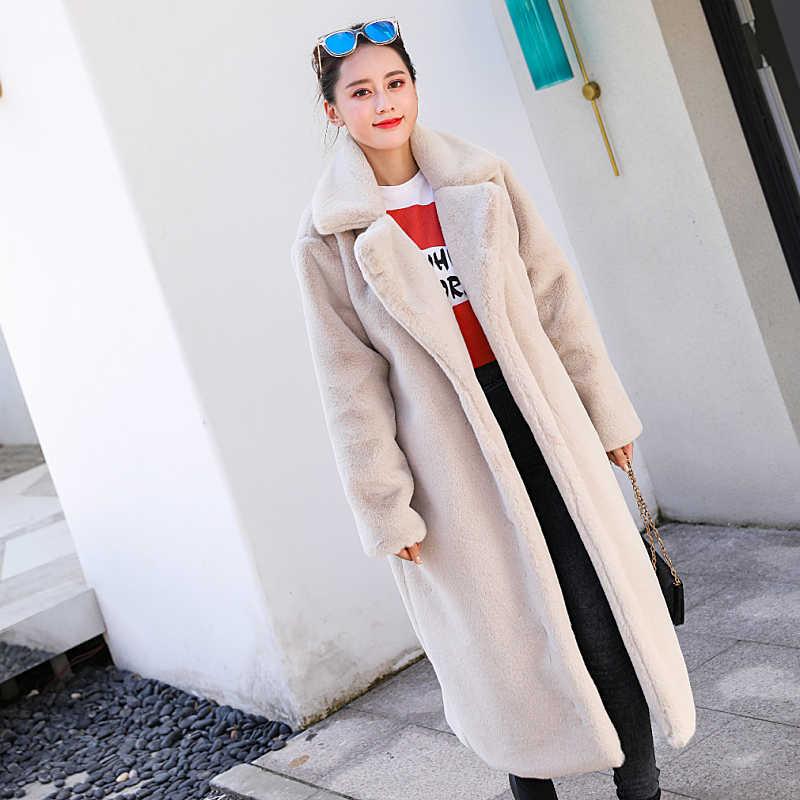 Inverno das mulheres de alta qualidade do falso casaco de pele de coelho casaco de pele longa de luxo solto lapela casaco grosso quente plus size feminino casacos de pelúcia