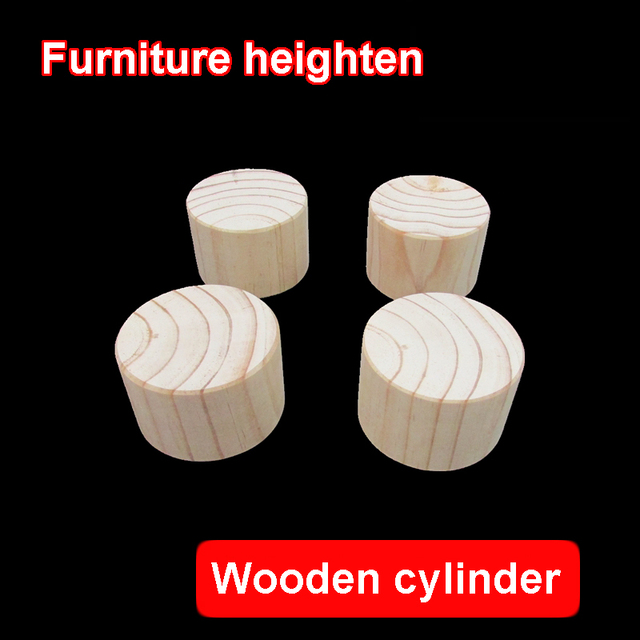 4PCS Furniture Foot Pads Wooden Cylinder Furniture Heighten Foot Pad Sofa  Bed TV Cabinet Stool Coffee Table Heighten