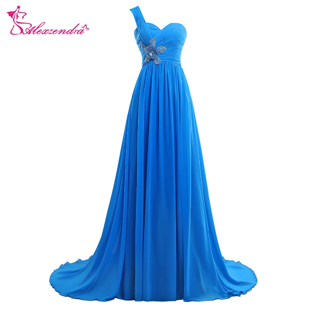 Alexzendra Blue Chiffon Long Beaded A Line   Prom     Dresses   Crystals One Shoulder Evening Gowns Party   Dress