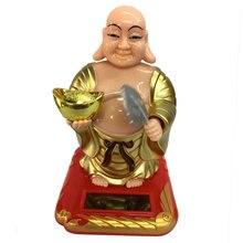 Фигурка Будды-пластиковая солнечная игрушка для детей, украшение автомобиля, подарок, домашний декор, украшение офиса
