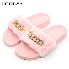 Coolsa New Summer Women Plush Slippers Cute Fluffy Fur Slides Diamond Chain Brand Female Indoor Slipper Casual Shoe Party Sandal