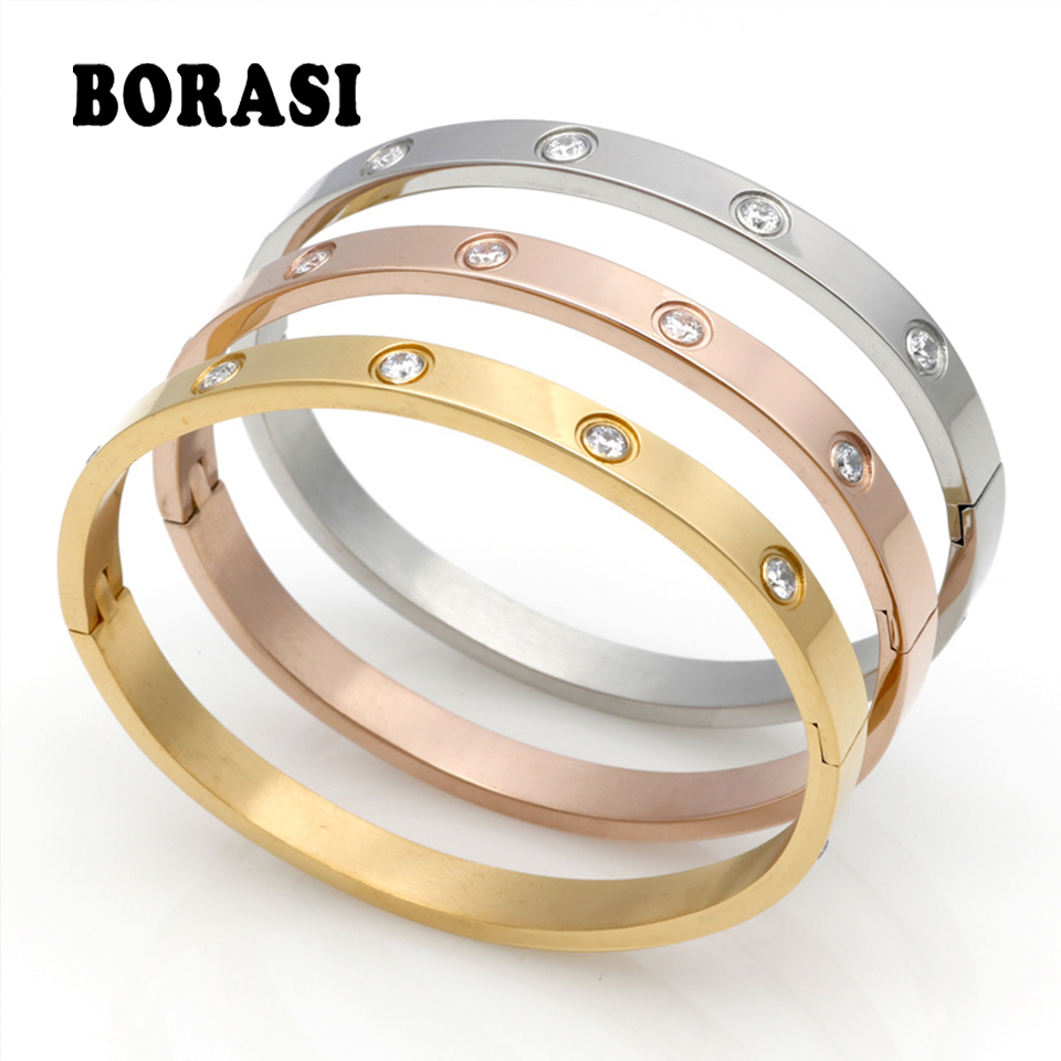 Fashion Couple Love Jewelry Crystal Cuff Bracelet for Women/Men Gold Color Stainless Steel Bracelets & Bangles Bijoux Best Gift gold open cuff bracelets for women bijoux jewelry
