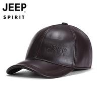 Original JEEP SPIRIT Genuine Leather Cap Men Hat Baseball Cap Men Cow Leather Cap Dad Hat Outdoor Ear Protection Hat casquette
