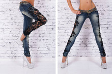 2016 New arrival Hot Women Fashion Slim Skinny Lace Crochet Stretch Denim Jeans Hollow Out