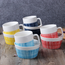 2 unids/set 1 Bowl + 1 Taza Colorida Línea de Cerámica Ensaladera Tazón Postre Tazón de arroz de Porcelana taza de Leche Taza de Café Taza de Agua 400 ml Desayuno conjunto