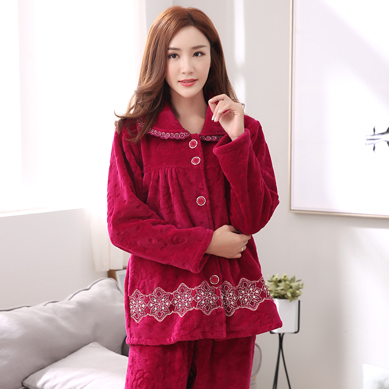 Middle Aged Womens Thick Coral Fleece Warm Pajamas Plus -8619