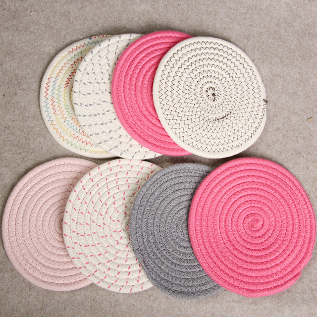 8pcslot Dining Decor Coaster Cotton Rope Knitting Round Placemat