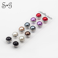 12 Pair Lot High Quality Unique Pearl Strong Magnetic Brooch Pin Muslim Hijab Scarf Pin Brooch