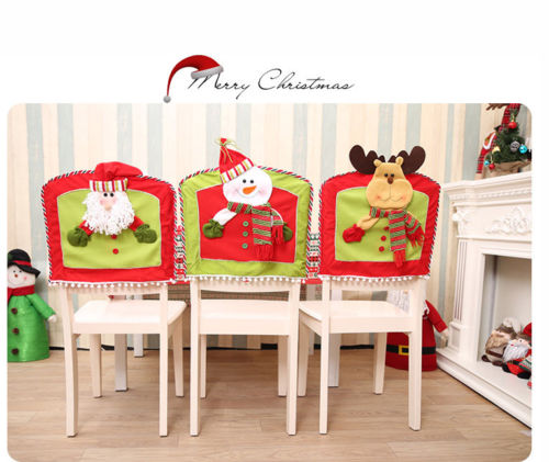 Hot New Merry Christmas Chair Cover Santa Snowman Deer Holiday Party Kitchen Dining Table Back Slipcover Decor