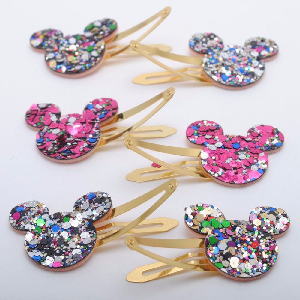 6 Pieces/ Lot New Corea Design Girls Hair Clips  Kids Glitter Hairpins Star Heart Mickey Ears Crown Gold Plated Hair Barrette