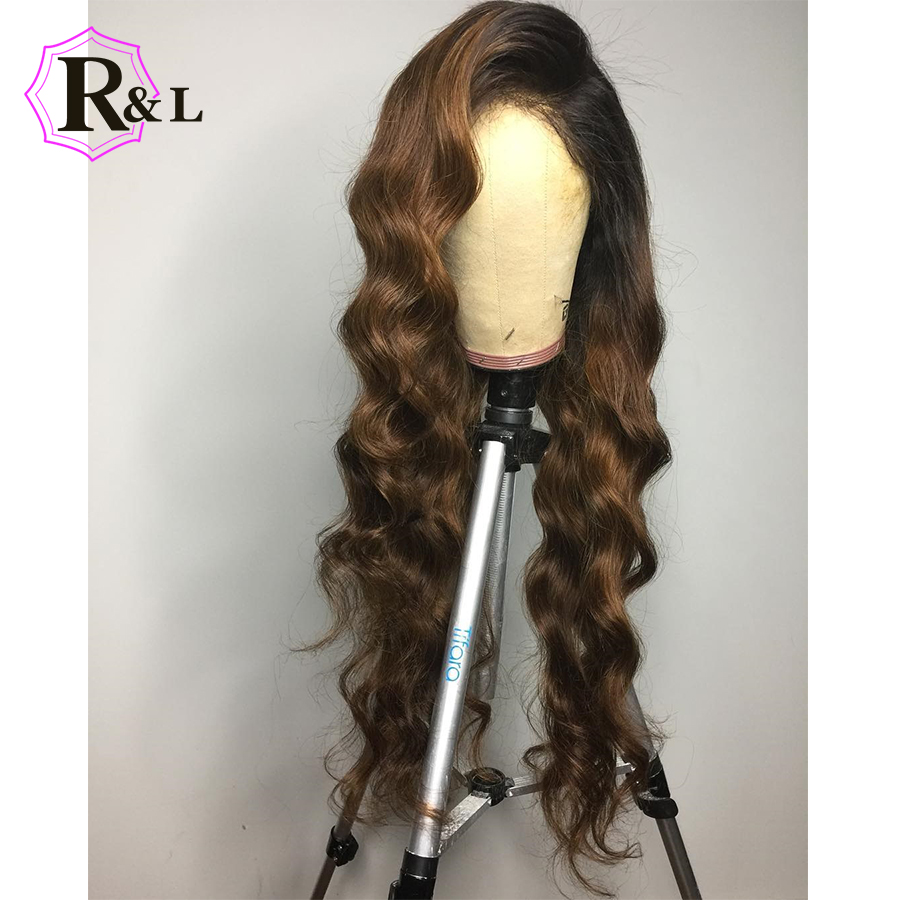 RULINDA Body Wave Ombre Lace Front Human Hair Wigs Pre plucked Side Part Brazilian Remy Hair