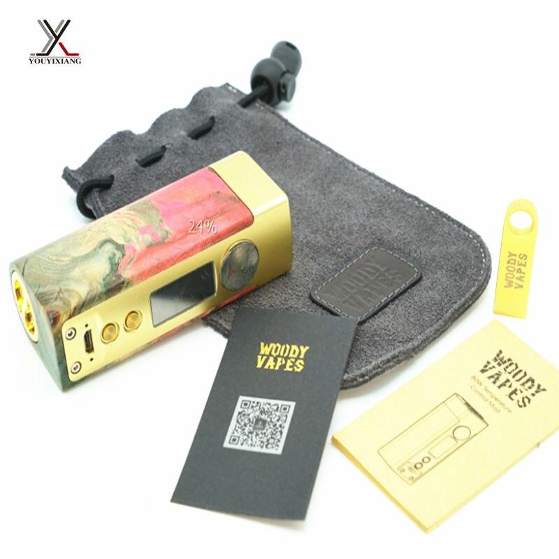 10pcs/lot 100% Original Woody Electronic Cigarettes 80W BOX MOD Kit e cigarette Wooden Kit with OLED Display e-cigarette Vape