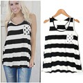 New Women Casual O-neck Sleeveless Back Bow T-Shirt Ladies Striped Printed Summer T Shirt Tops White Black, Red Black S-L 35