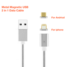 2 In 1 Magnetic Nylon Braided Lightning Quick Charge Cable For Iphone 6s 7 Plus Sony Xperia Z2 mini Fast Charging